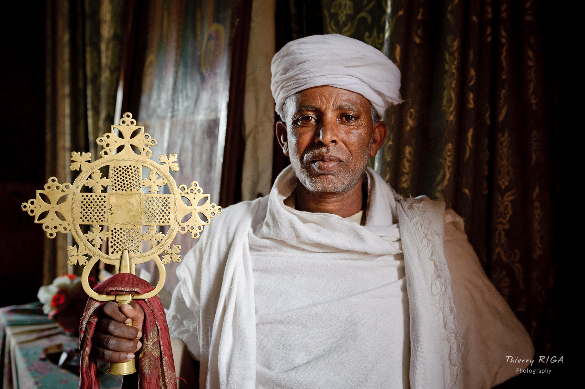 Lalibela priest cross ethiopia
