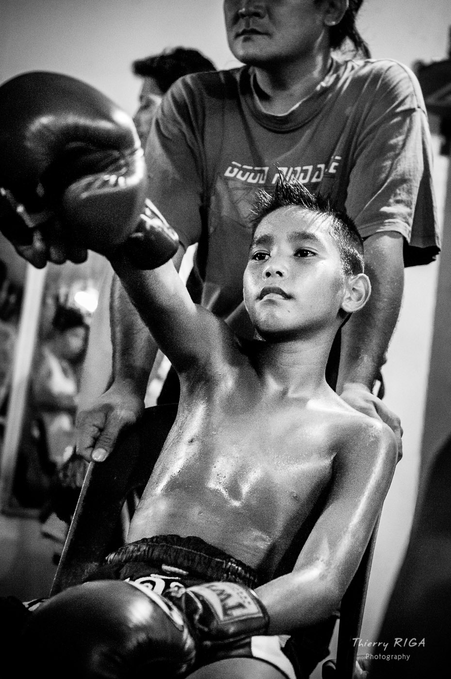 Muay Thai boxing warming up kid thailand