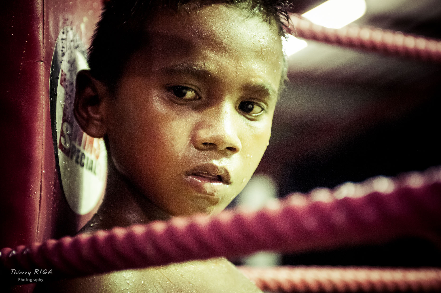 Muay Thai boxing face kid thailand