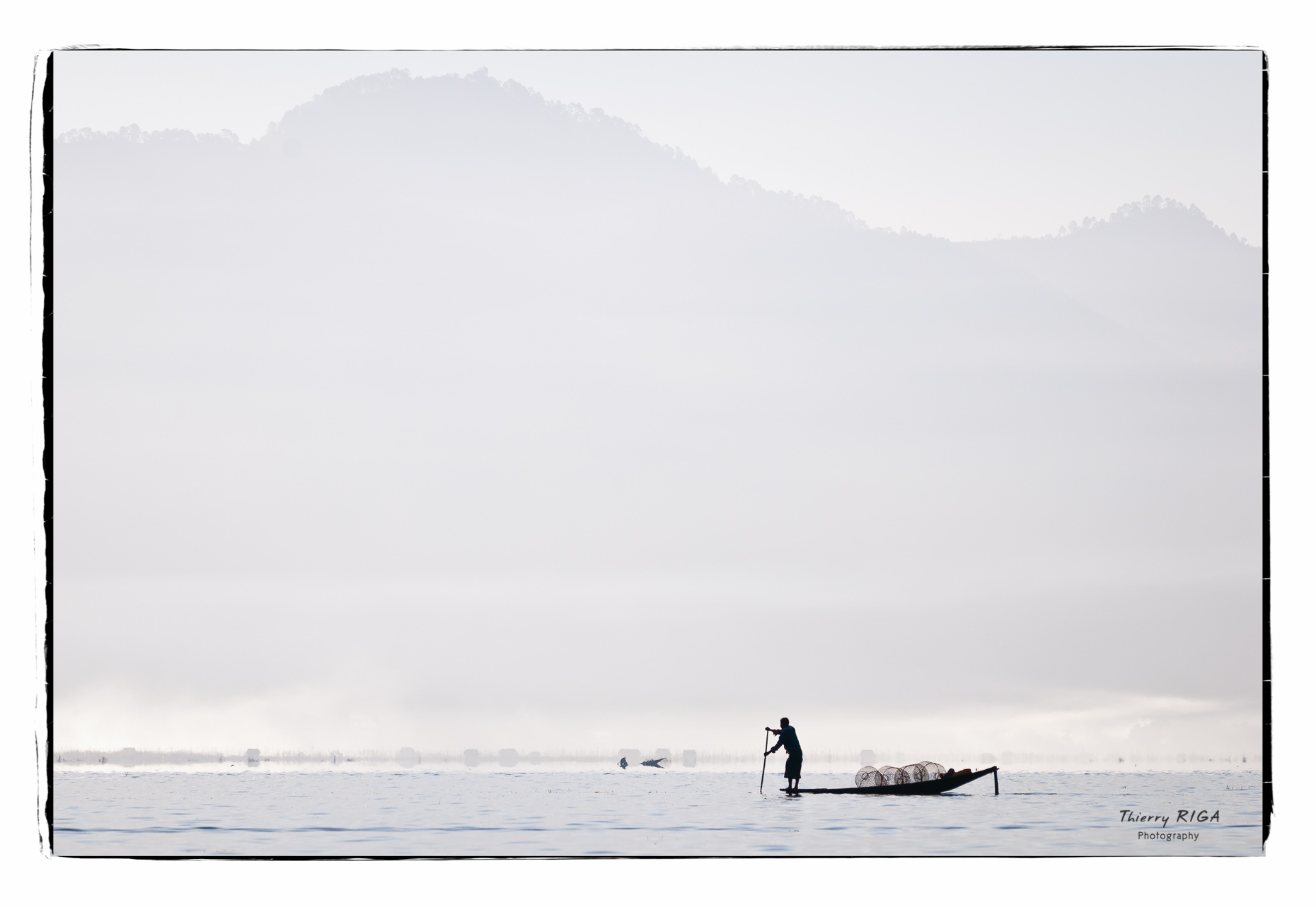 Inlay lake fishermen blue mountain